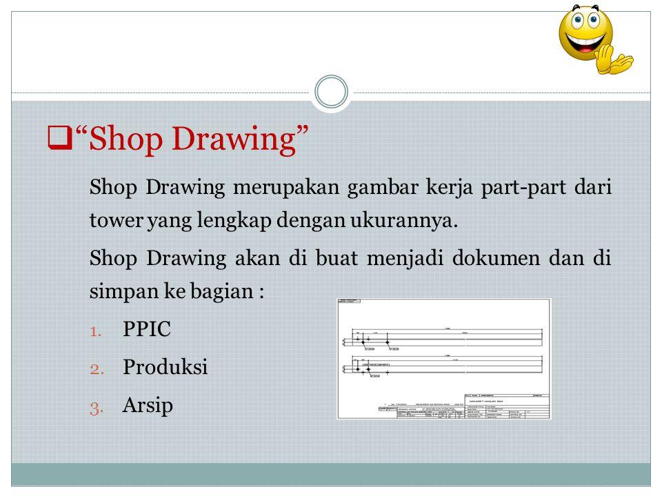 " ""Shop Drawing"" Shop Drawing merupakan gambar kerja part-part dari tower yang lengkap dengan ukurannya. Shop Drawing akan di buat menjadi dokumen dan"