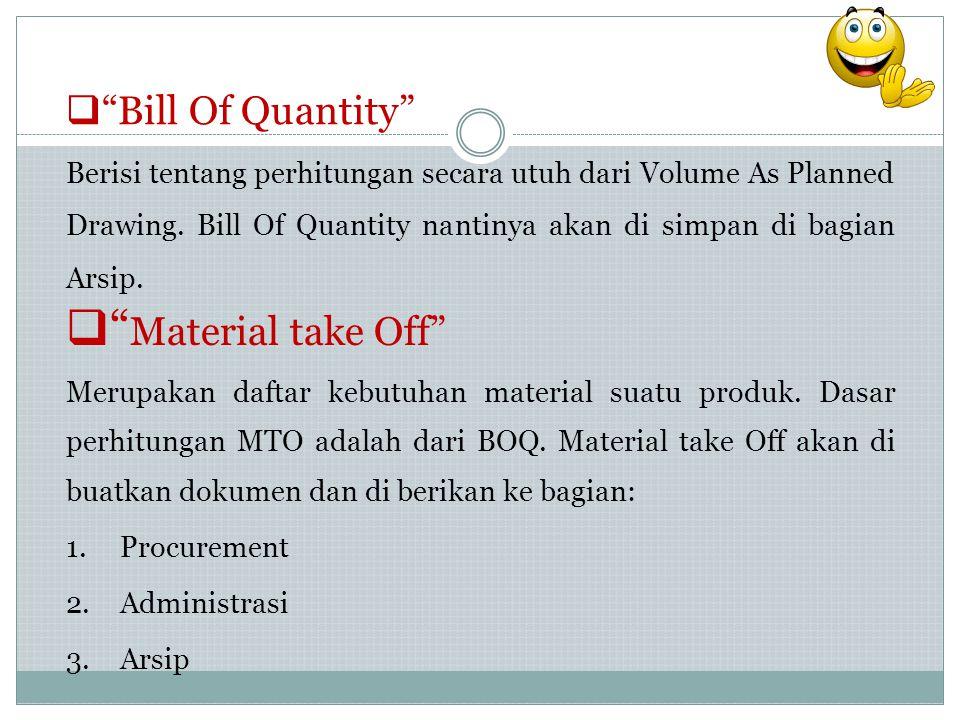 """ """"Bill Of Quantity"""" Berisi tentang perhitungan secara utuh dari Volume As Planned Drawing. Bill Of Quantity nantinya akan di simpan di bagian Arsip."""