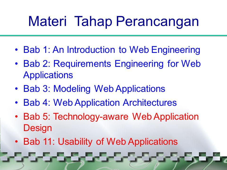 Materi Tahap Perancangan •Bab 1: An Introduction to Web Engineering •Bab 2: Requirements Engineering for Web Applications •Bab 3: Modeling Web Applica