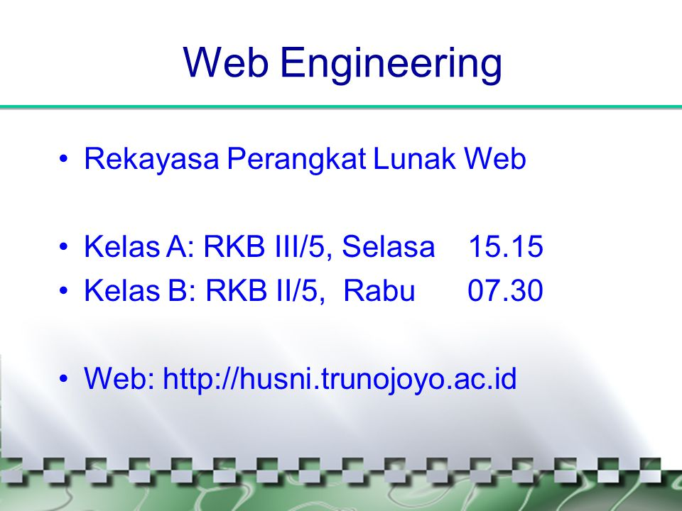 Perkenalan •H u s n i •S1 Ilmu Komputer UGM, S2 Informatika ITB •Bidang Keahlian: Jaringan Komputer (Sistem Tersebar), Information Retrieval (Teknologi Search Engine) & Web Engineering.