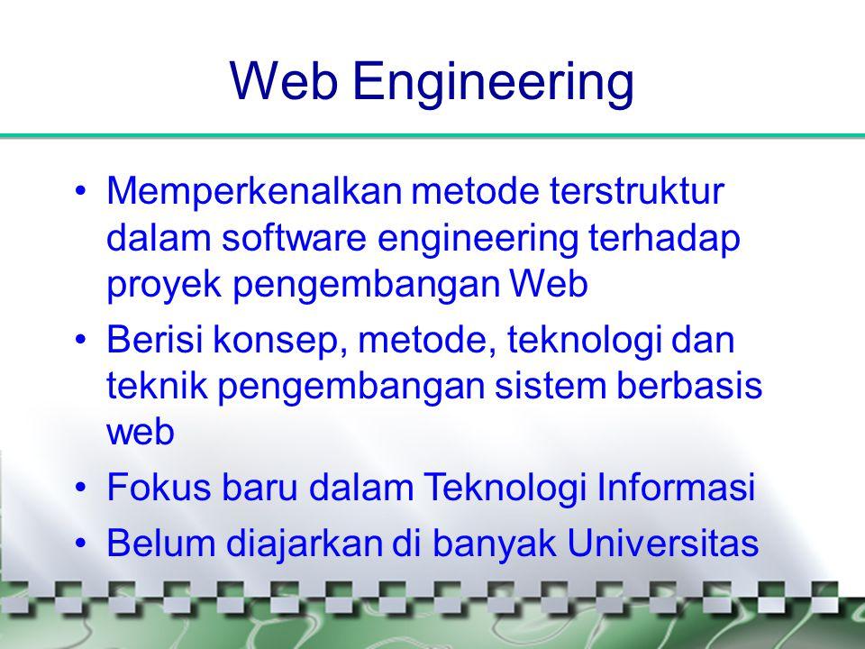 Web Engineering •Memperkenalkan metode terstruktur dalam software engineering terhadap proyek pengembangan Web •Berisi konsep, metode, teknologi dan t