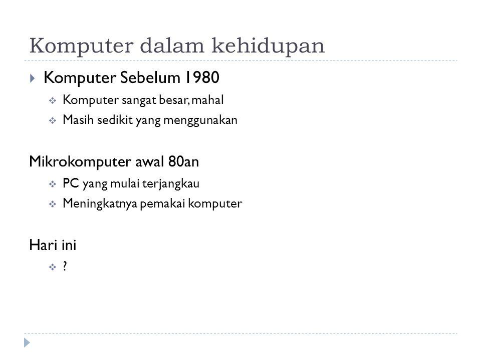 Komputer dalam kehidupan  Komputer Sebelum 1980  Komputer sangat besar, mahal  Masih sedikit yang menggunakan Mikrokomputer awal 80an  PC yang mul