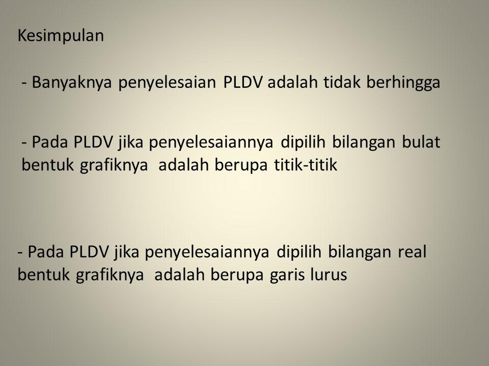 Kesimpulan - Banyaknya penyelesaian PLDV adalah tidak berhingga - Pada PLDV jika penyelesaiannya dipilih bilangan bulat bentuk grafiknya adalah berupa titik-titik - Pada PLDV jika penyelesaiannya dipilih bilangan real bentuk grafiknya adalah berupa garis lurus