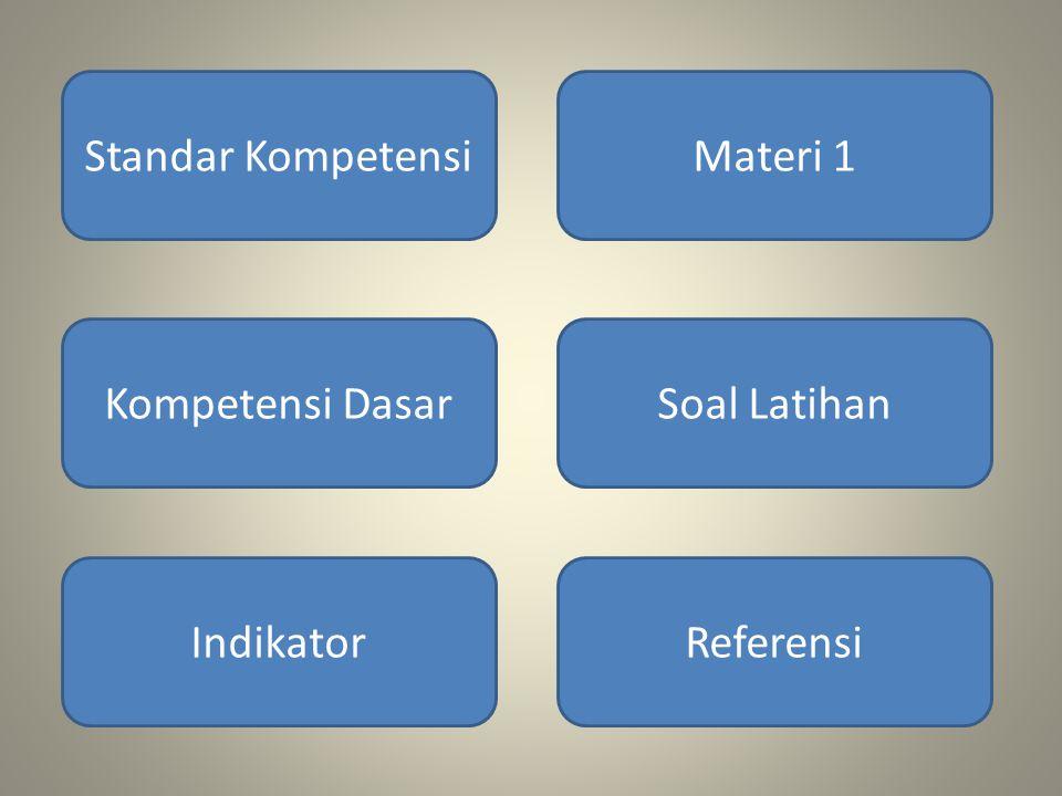 Standar KompetensiMateri 1 Kompetensi DasarSoal Latihan IndikatorReferensi
