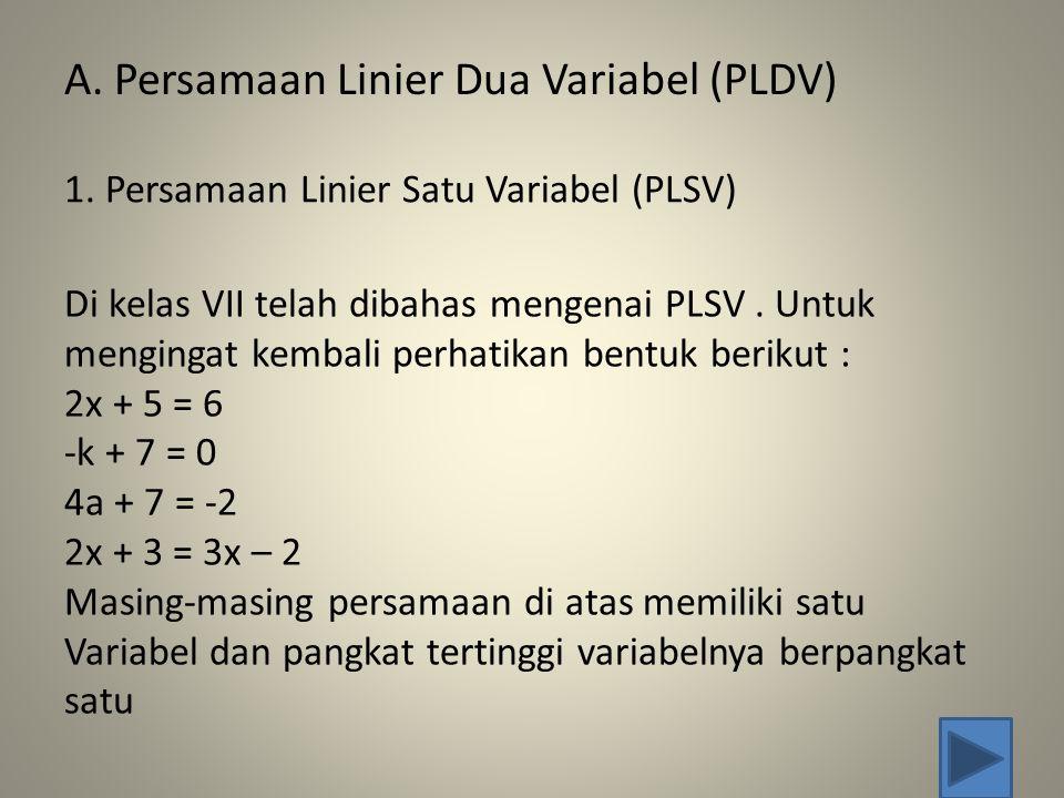 A.Persamaan Linier Dua Variabel (PLDV) 1.