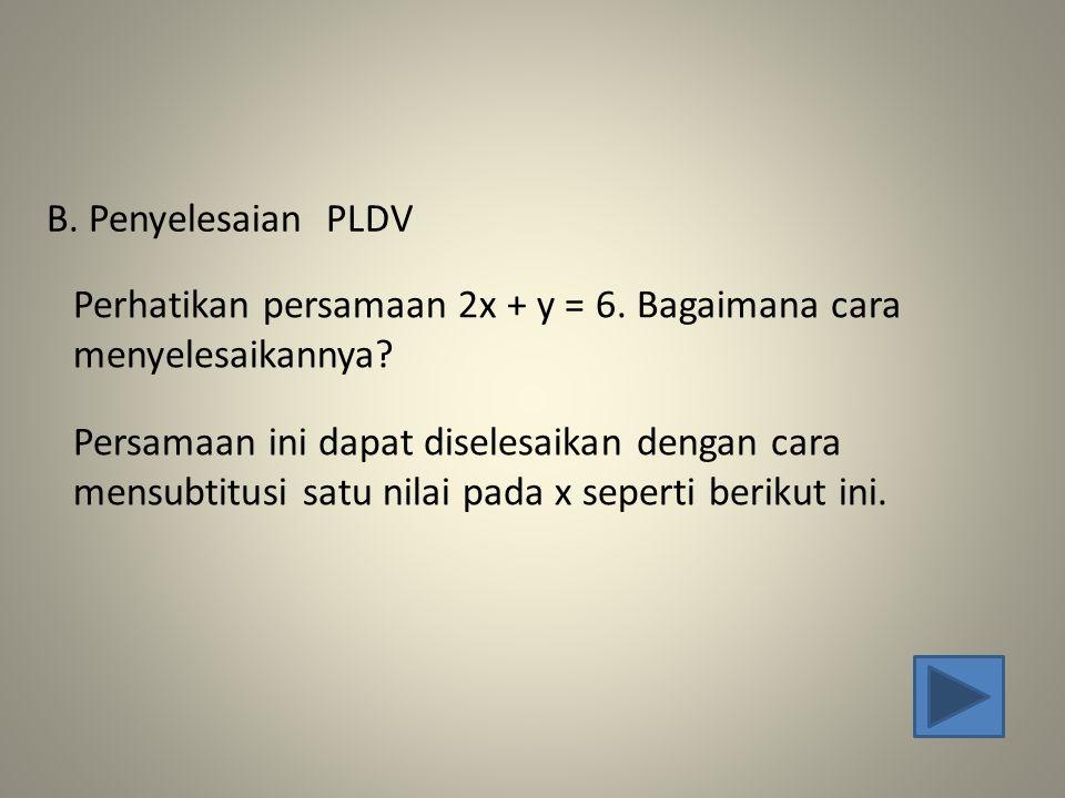 Perhatikan persamaan 2x + y = 6. Bagaimana cara menyelesaikannya? B. Penyelesaian PLDV Persamaan ini dapat diselesaikan dengan cara mensubtitusi satu