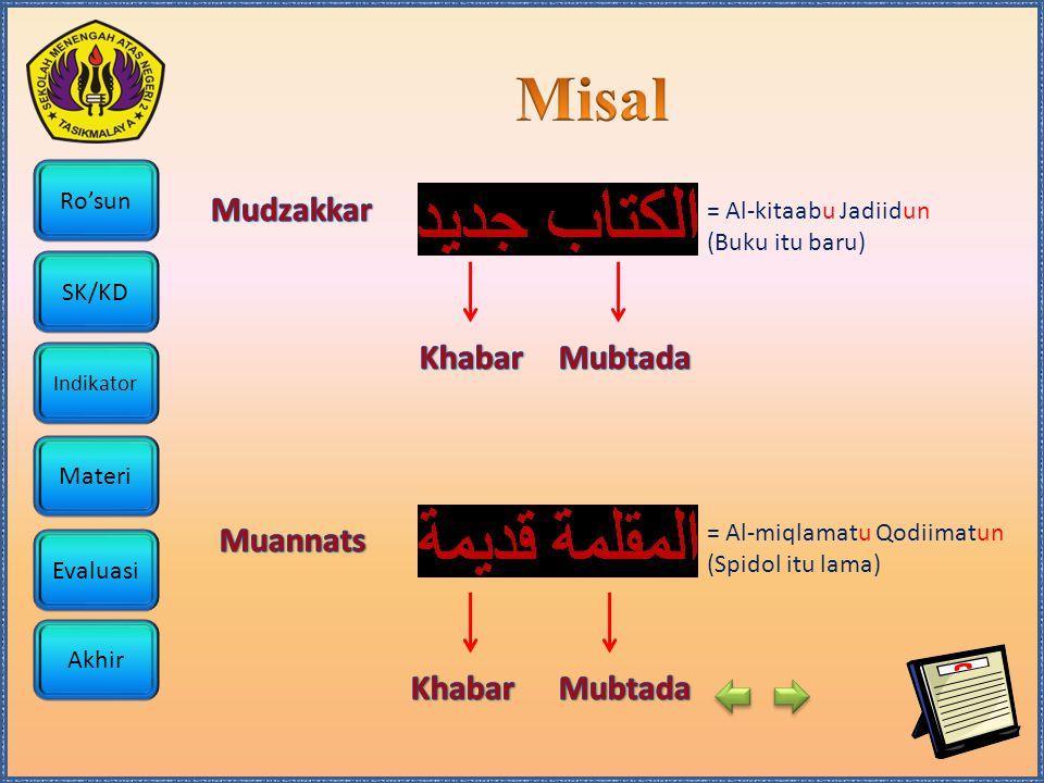 Ro'sun SK/KD Indikator Materi Akhir Evaluasi = Al-kitaabu Jadiidun (Buku itu baru) = Al-miqlamatu Qodiimatun (Spidol itu lama)