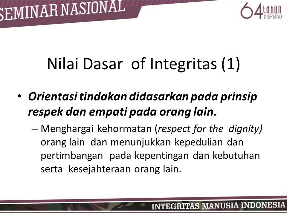 Nilai Dasar of Integritas (1) • Orientasi tindakan didasarkan pada prinsip respek dan empati pada orang lain. – Menghargai kehormatan (respect for the