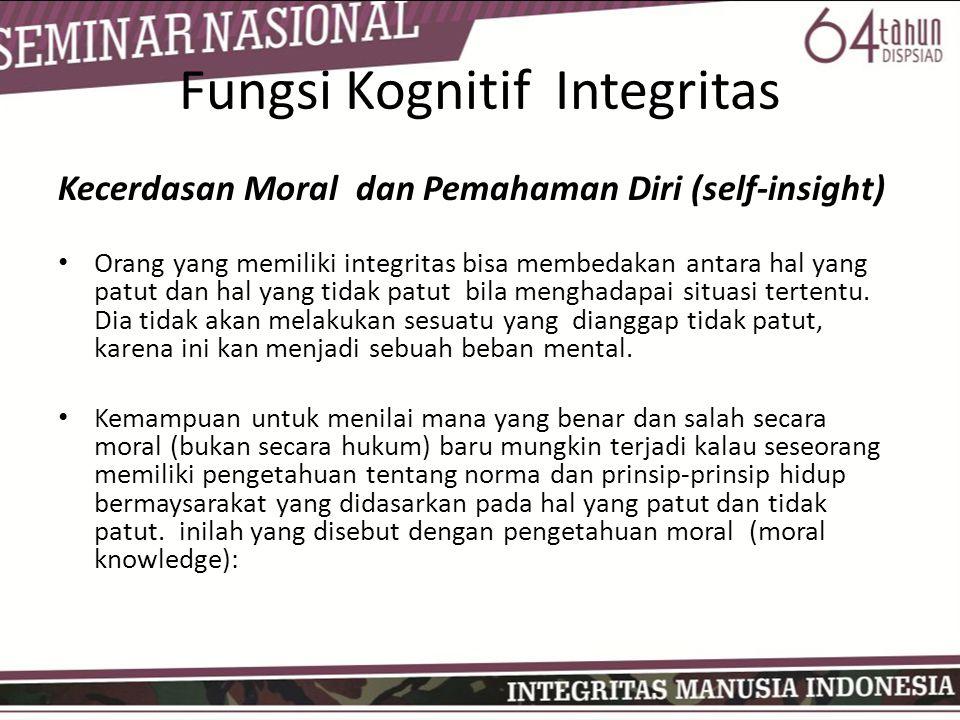 Fungsi Kognitif Integritas Kecerdasan Moral dan Pemahaman Diri (self-insight) • Orang yang memiliki integritas bisa membedakan antara hal yang patut dan hal yang tidak patut bila menghadapai situasi tertentu.