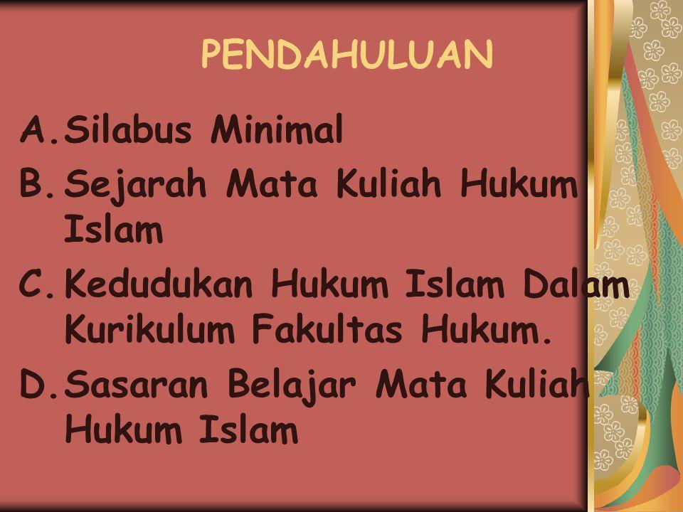 PENDAHULUAN A.Silabus Minimal B.Sejarah Mata Kuliah Hukum Islam C.Kedudukan Hukum Islam Dalam Kurikulum Fakultas Hukum.
