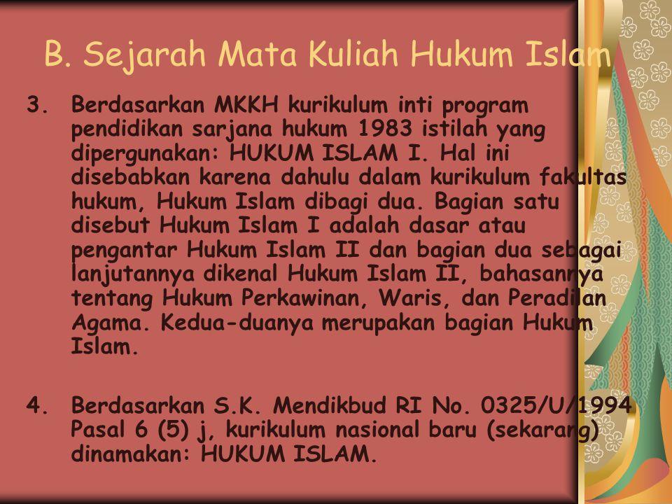 B. Sejarah Mata Kuliah Hukum Islam 1.Berdasarkan S.K. Mendikbud R.I. No. 0198/U9/1972 Tentang pedoman kurikulum minimal Fakultas Hukum Negeri dan Swas