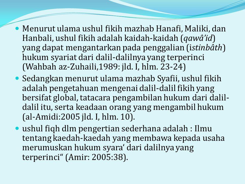  Menurut ulama ushul fikih mazhab Hanafi, Maliki, dan Hanbali, ushul fikih adalah kaidah-kaidah (qawâ'id) yang dapat mengantarkan pada penggalian (istinbâth) hukum syariat dari dalil-dalilnya yang terperinci (Wahbah az-Zuhaili,1989: jld.