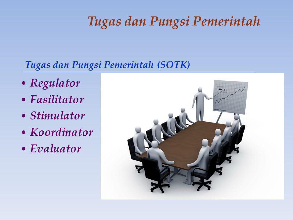 Tugas dan Pungsi Pemerintah • Regulator • Fasilitator • Stimulator • Koordinator • Evaluator Tugas dan Pungsi Pemerintah (SOTK)