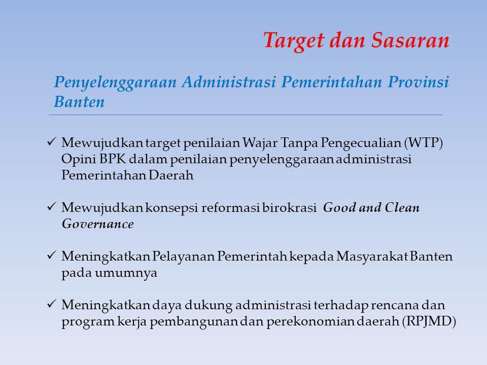 Target dan Sasaran Penyelenggaraan Administrasi Pemerintahan Provinsi Banten  Mewujudkan target penilaian Wajar Tanpa Pengecualian (WTP) Opini BPK dalam penilaian penyelenggaraan administrasi Pemerintahan Daerah  Mewujudkan konsepsi reformasi birokrasi Good and Clean Governance  Meningkatkan Pelayanan Pemerintah kepada Masyarakat Banten pada umumnya  Meningkatkan daya dukung administrasi terhadap rencana dan program kerja pembangunan dan perekonomian daerah (RPJMD)