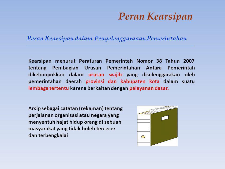 Peran Kearsipan Kearsipan menurut Peraturan Pemerintah Nomor 38 Tahun 2007 tentang Pembagian Urusan Pemerintahan Antara Pemerintah dikelompokkan dalam urusan wajib yang diselenggarakan oleh pemerintahan daerah provinsi dan kabupaten kota dalam suatu lembaga tertentu karena berkaitan dengan pelayanan dasar.