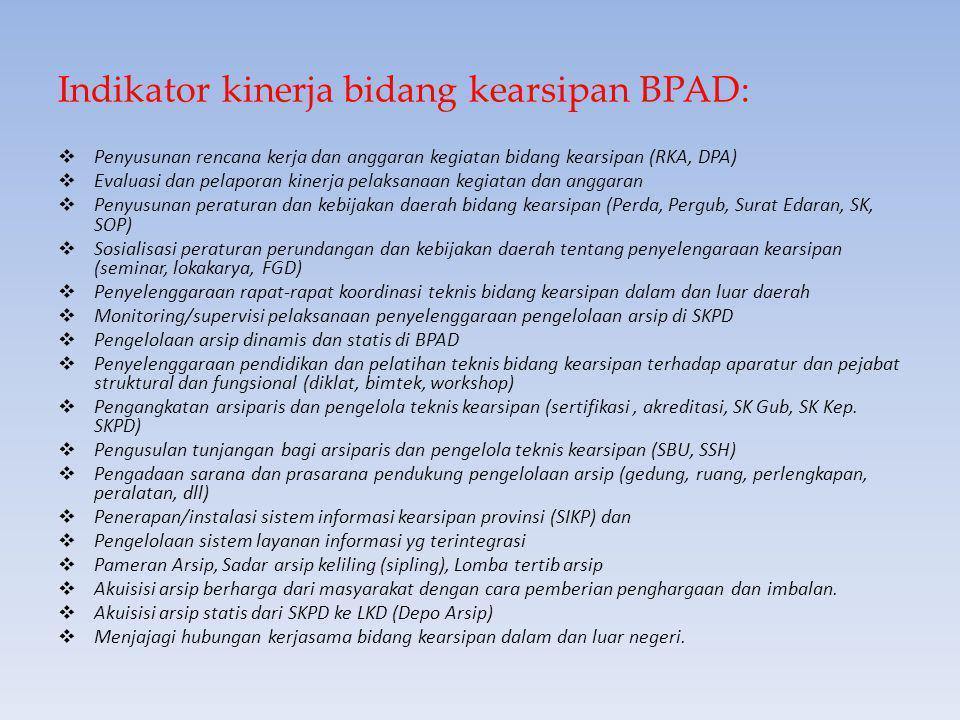 Rumusan Program kerja bidang kearsipan BPAD dengan Sasaran :  Tersedianya peraturan dan kebijakan daerah tentang penyelenggaraan kearsipan dan pedoma
