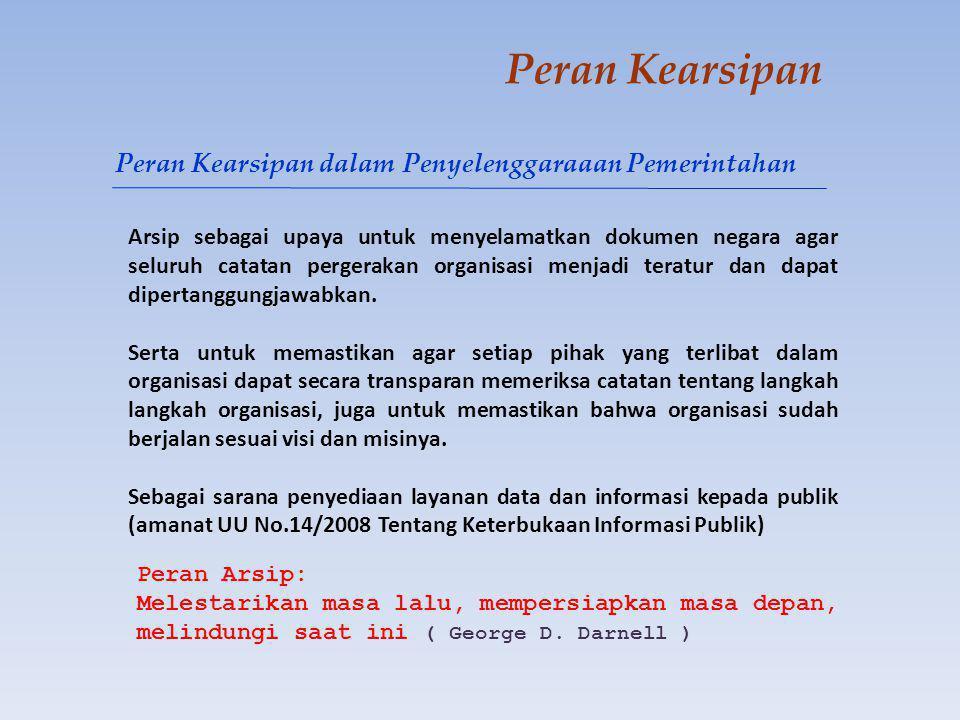 Peran Kearsipan Kearsipan menurut Peraturan Pemerintah Nomor 38 Tahun 2007 tentang Pembagian Urusan Pemerintahan Antara Pemerintah dikelompokkan dalam