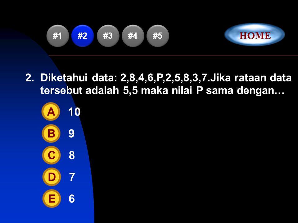 1.Dari data: 2,6,5,9,4,9,5,7,9,3,7 dapat disimpulkan… A Rataan = ModusB Rataan = MedianC Rataan > ModusD Rataan > MedianE Median > Modus #2 #3 #4 #5 #1 HOME