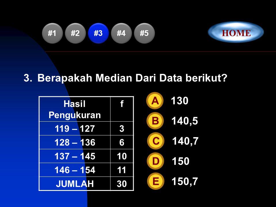 2.Diketahui data: 2,8,4,6,P,2,5,8,3,7.Jika rataan data tersebut adalah 5,5 maka nilai P sama dengan… A 10B 9C 8D 7E 6 #1 #2 #3 #4 #5 HOME