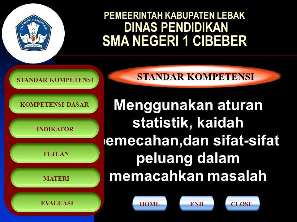 STATISTIKA SMA KELAS XI SEMESTER 1 STANDAR KOMPETENSIKOMPETENSI DASARINDIKATORTUJUANMATERIEVALUASI PEMEERINTAH KABUPATEN LEBAK DINAS PENDIDIKAN SMA NEGERI 1 CIBEBER CLOSEEND