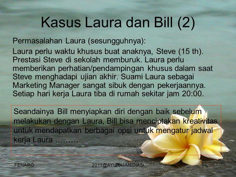26 Kasus Laura dan Bill (2) Permasalahan Laura (sesungguhnya): Laura perlu waktu khusus buat anaknya, Steve (15 th). Prestasi Steve di sekolah memburu