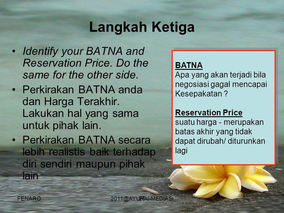 27 •Identify your BATNA and Reservation Price. Do the same for the other side. •Perkirakan BATNA anda dan Harga Terakhir. Lakukan hal yang sama untuk