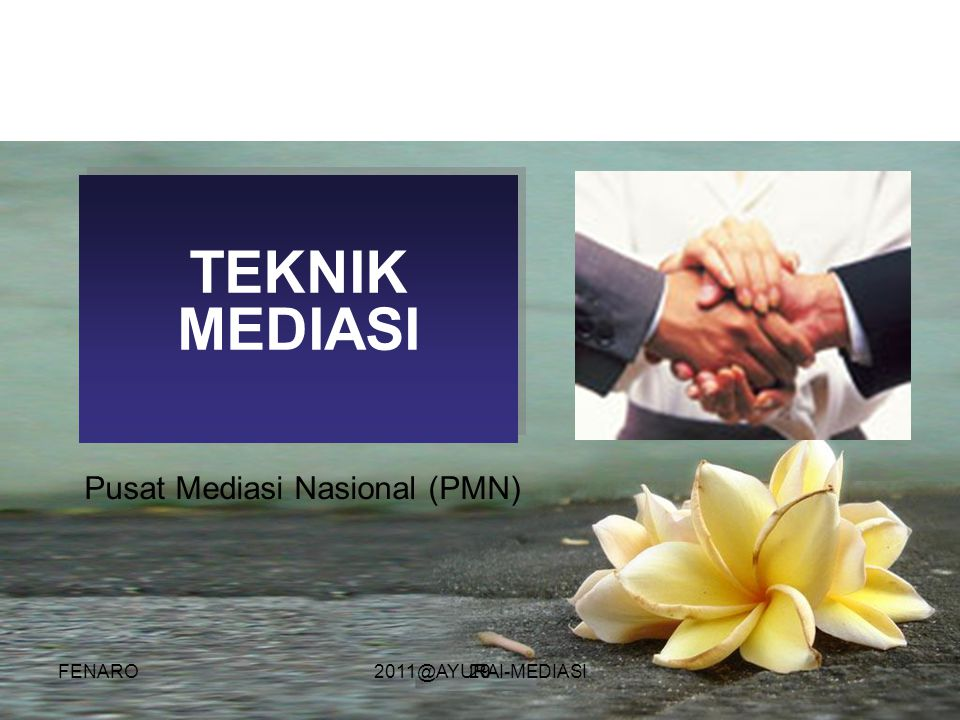 29 TEKNIK MEDIASI Pusat Mediasi Nasional (PMN) FENARO2011@AYURAI-MEDIASI