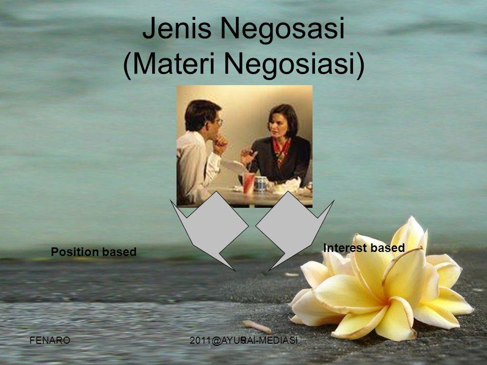 9 Jenis Negosasi (Materi Negosiasi) Position based Interest based FENARO2011@AYURAI-MEDIASI
