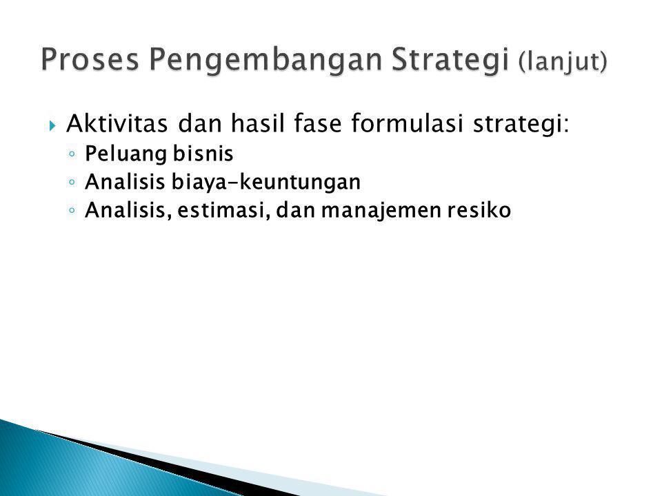  Aktivitas dan hasil fase formulasi strategi: ◦ Peluang bisnis ◦ Analisis biaya-keuntungan ◦ Analisis, estimasi, dan manajemen resiko