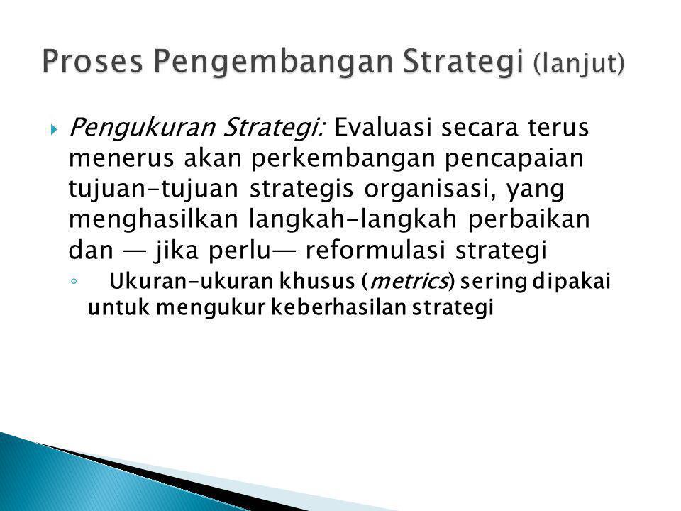  Pengukuran Strategi: Evaluasi secara terus menerus akan perkembangan pencapaian tujuan-tujuan strategis organisasi, yang menghasilkan langkah-langka