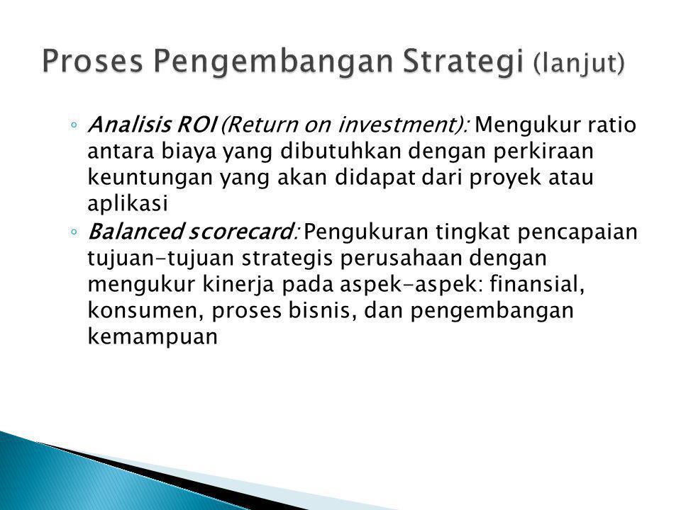 ◦ Analisis ROI (Return on investment): Mengukur ratio antara biaya yang dibutuhkan dengan perkiraan keuntungan yang akan didapat dari proyek atau apli