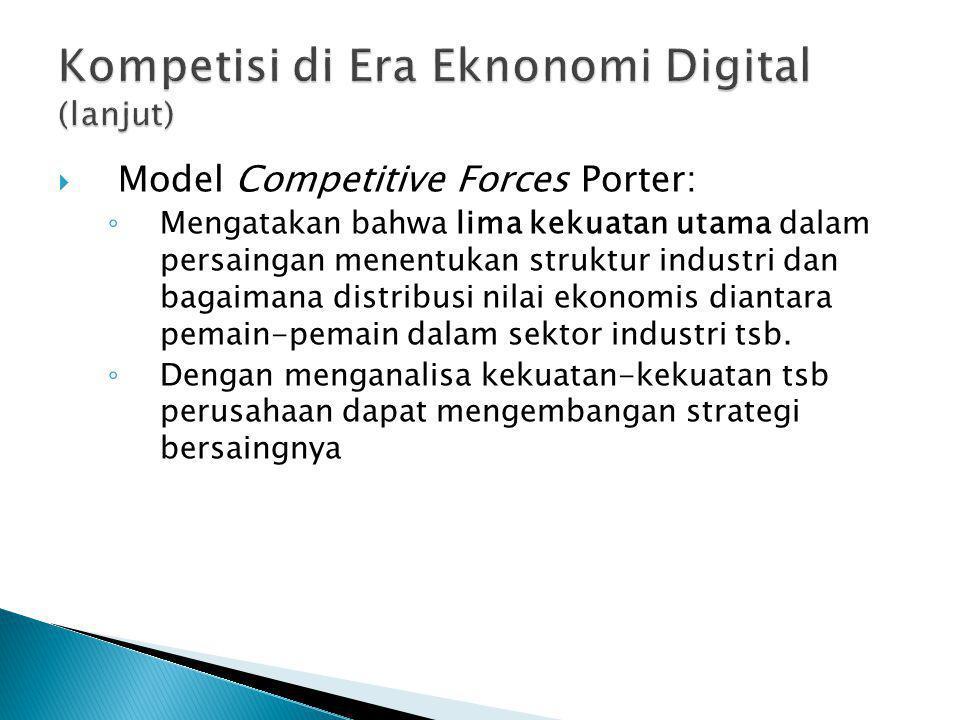  Model Competitive Forces Porter: ◦ Mengatakan bahwa lima kekuatan utama dalam persaingan menentukan struktur industri dan bagaimana distribusi nilai