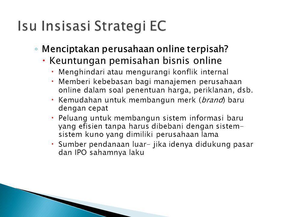 ◦ Menciptakan perusahaan online terpisah?  Keuntungan pemisahan bisnis online  Menghindari atau mengurangi konflik internal  Memberi kebebasan bagi