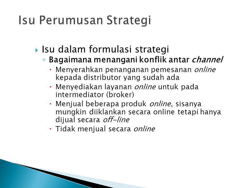 Isu dalam formulasi strategi ◦ Bagaimana menangani konflik antar channel  Menyerahkan penanganan pemesanan online kepada distributor yang sudah ada