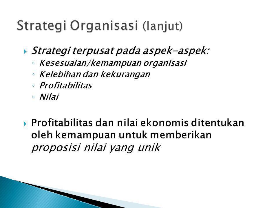  Strategi terpusat pada aspek-aspek: ◦ Kesesuaian/kemampuan organisasi ◦ Kelebihan dan kekurangan ◦ Profitabilitas ◦ Nilai  Profitabilitas dan nilai