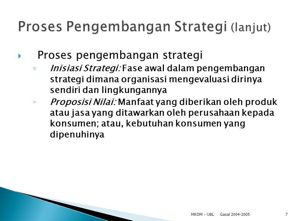  Proses pengembangan strategi ◦ Inisiasi Strategi: Fase awal dalam pengembangan strategi dimana organisasi mengevaluasi dirinya sendiri dan lingkunga