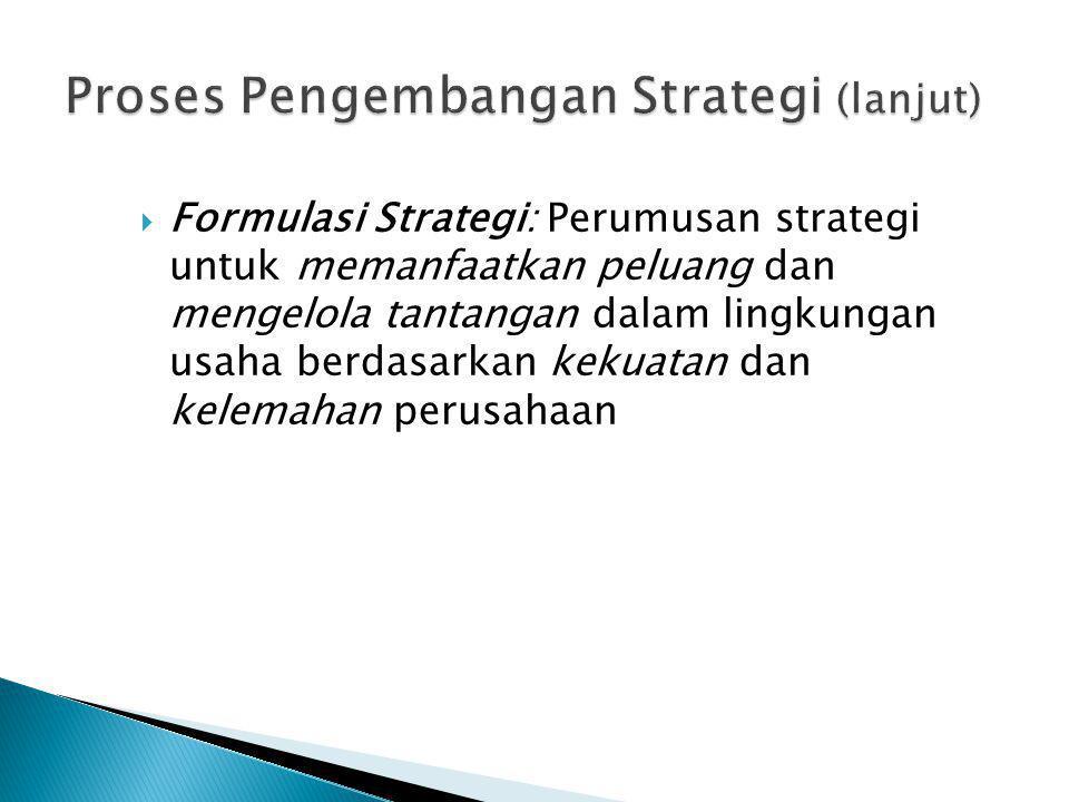 Formulasi Strategi: Perumusan strategi untuk memanfaatkan peluang dan mengelola tantangan dalam lingkungan usaha berdasarkan kekuatan dan kelemahan