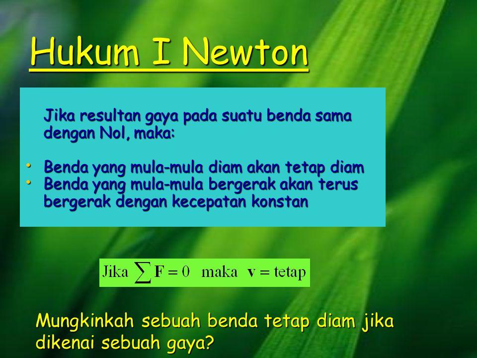 Hukum I Newton Jika resultan gaya pada suatu benda sama dengan Nol, maka: •B•B•B•Benda yang mula-mula diam akan tetap diam •B•B•B•Benda yang mula-mula