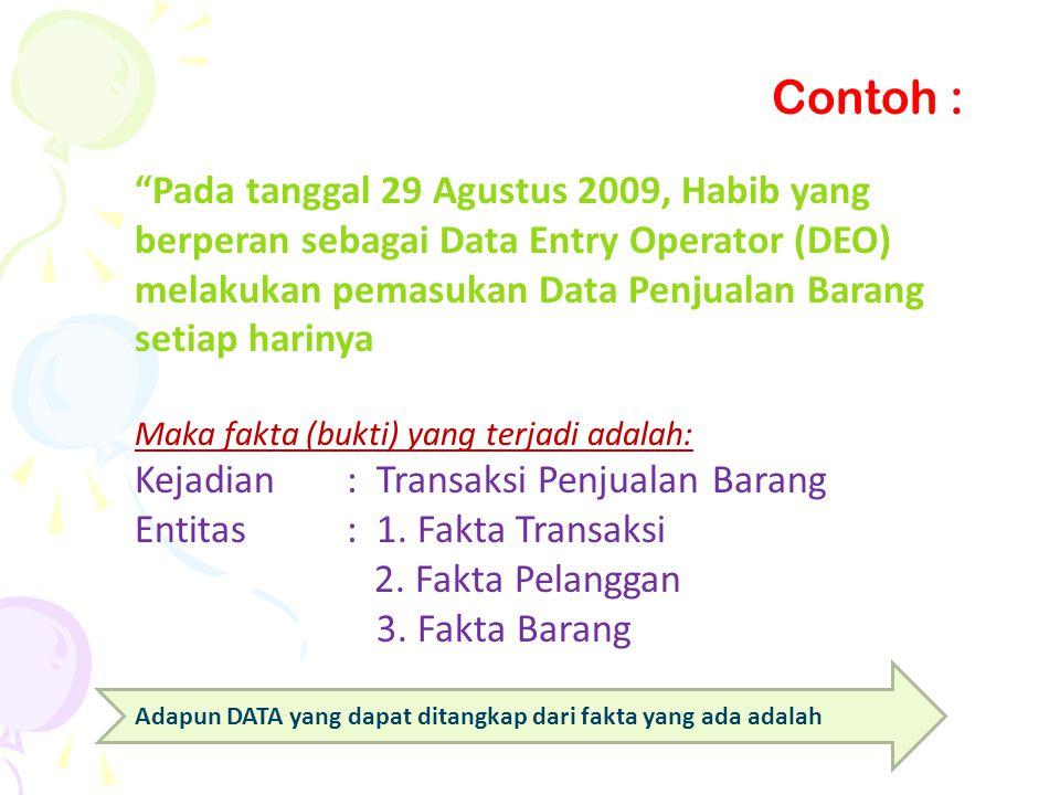 """""""Pada tanggal 29 Agustus 2009, Habib yang berperan sebagai Data Entry Operator (DEO) melakukan pemasukan Data Penjualan Barang setiap harinya Maka fak"""