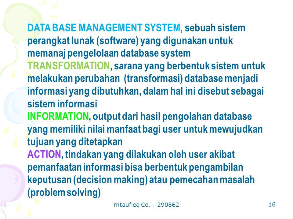 DATA BASE MANAGEMENT SYSTEM, sebuah sistem perangkat lunak (software) yang digunakan untuk memanaj pengelolaan database system TRANSFORMATION, sarana