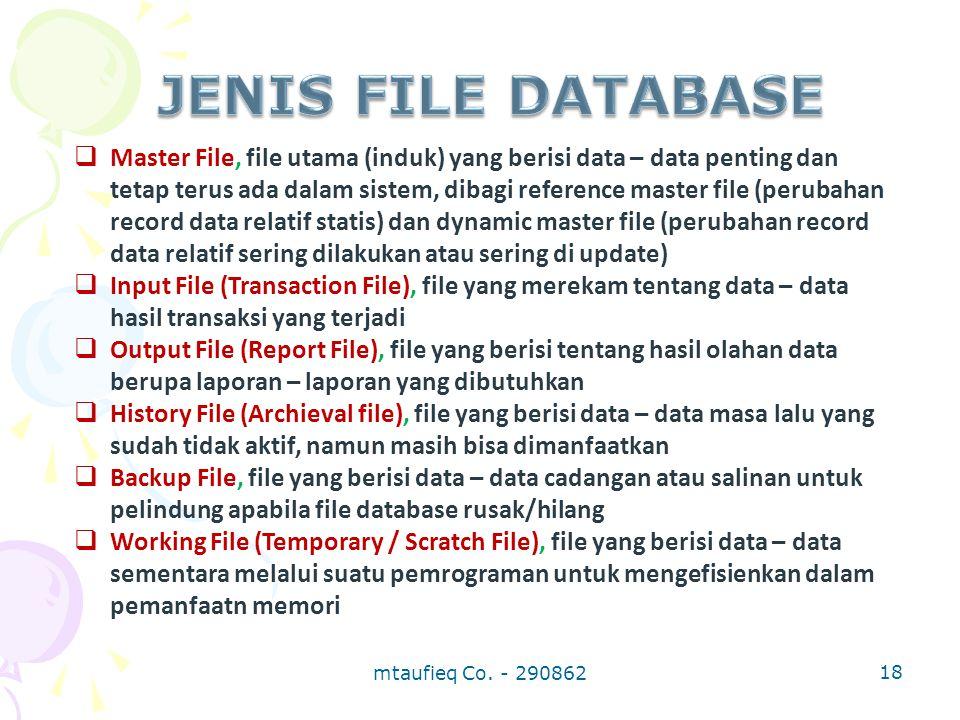  Master File, file utama (induk) yang berisi data – data penting dan tetap terus ada dalam sistem, dibagi reference master file (perubahan record dat