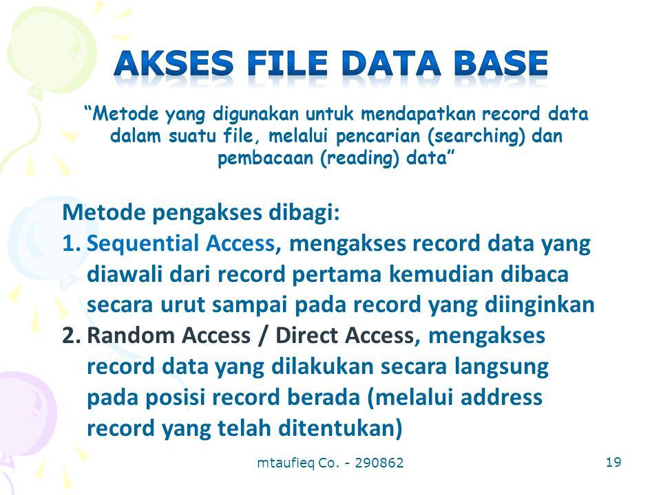 """""""Metode yang digunakan untuk mendapatkan record data dalam suatu file, melalui pencarian (searching) dan pembacaan (reading) data"""" Metode pengakses di"""