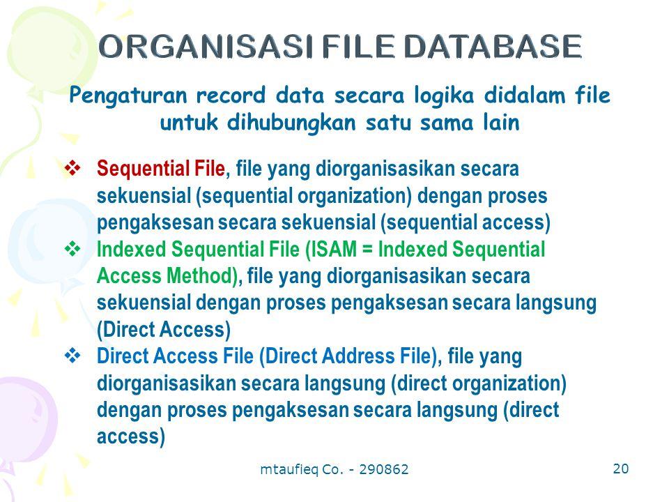 Pengaturan record data secara logika didalam file untuk dihubungkan satu sama lain  Sequential File, file yang diorganisasikan secara sekuensial (seq