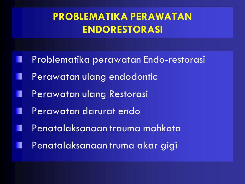 PROBLEMATIKA PERAWATAN ENDORESTORASI Problematika perawatan Endo-restorasi Perawatan ulang endodontic Perawatan ulang Restorasi Perawatan darurat endo Penatalaksanaan trauma mahkota Penatalaksanaan truma akar gigi