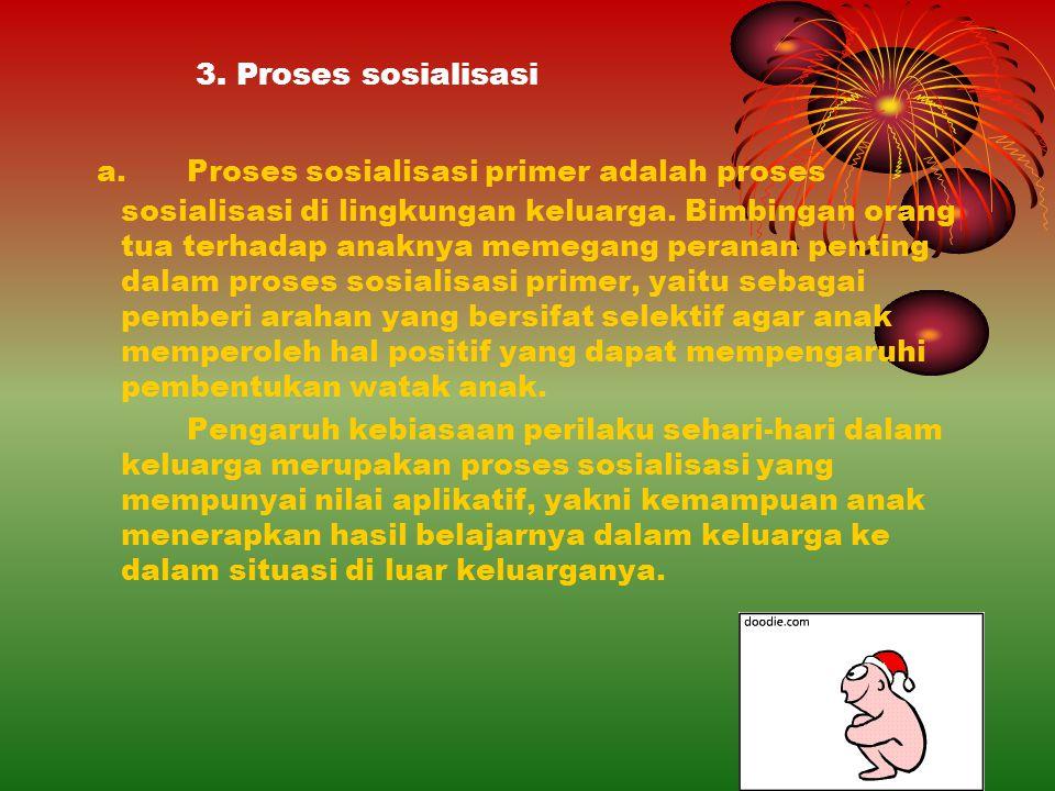 3. Proses sosialisasi a. Proses sosialisasi primer adalah proses sosialisasi di lingkungan keluarga. Bimbingan orang tua terhadap anaknya memegang per