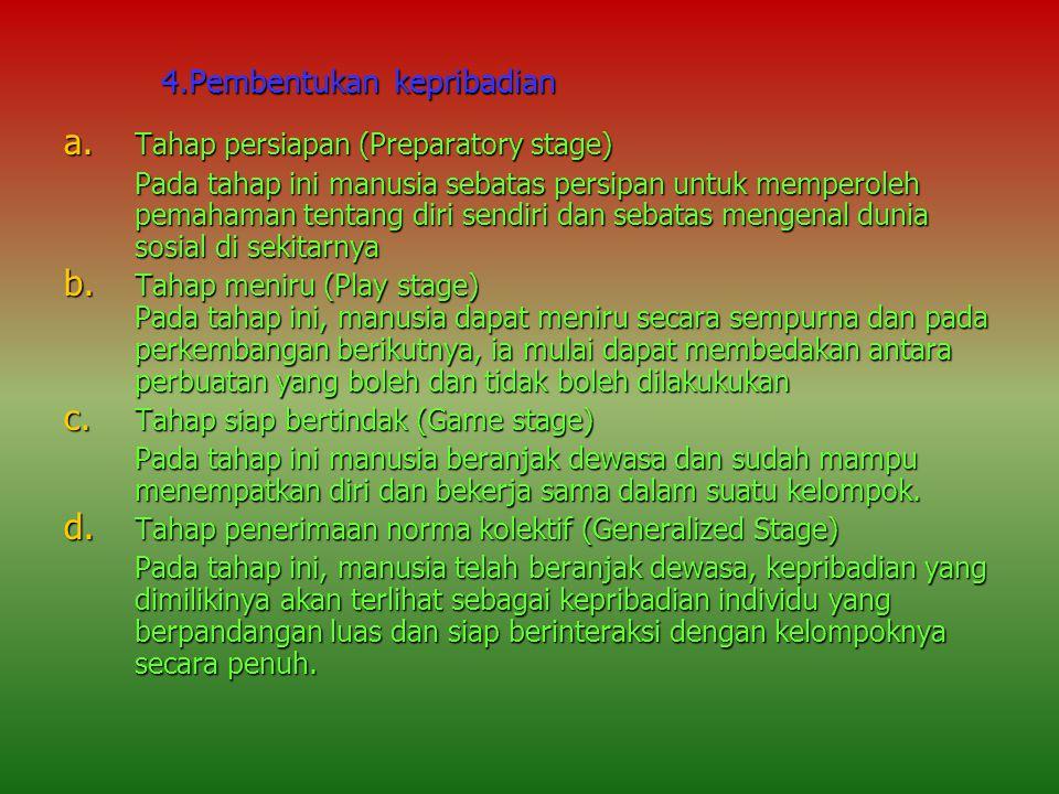 4.Pembentukan kepribadian a. Tahap persiapan (Preparatory stage) Pada tahap ini manusia sebatas persipan untuk memperoleh pemahaman tentang diri sendi