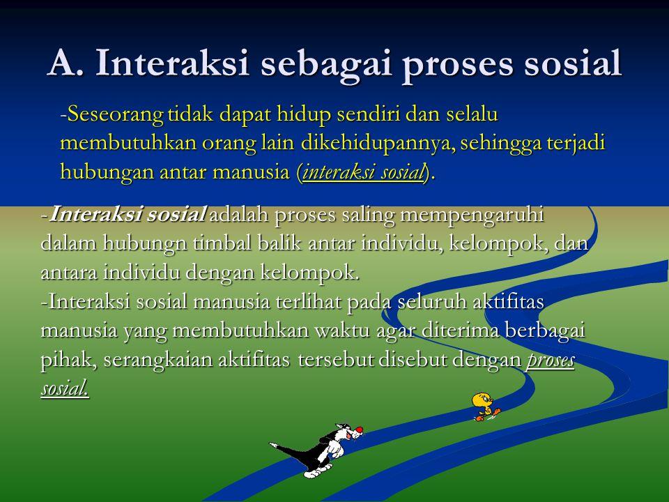 A. Interaksi sebagai proses sosial -Seseorang tidak dapat hidup sendiri dan selalu membutuhkan orang lain dikehidupannya, sehingga terjadi hubungan an