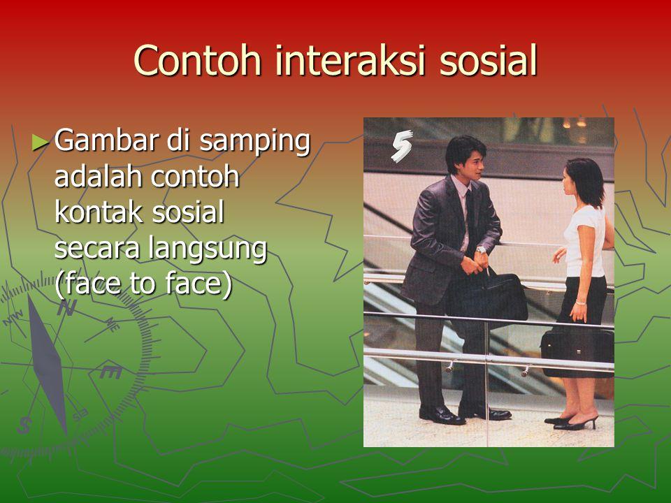 Contoh interaksi sosial ► Gambar di samping adalah contoh kontak sosial secara langsung (face to face)