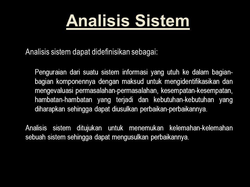 Analisis Sistem Analisis sistem dapat didefinisikan sebagai: Penguraian dari suatu sistem informasi yang utuh ke dalam bagian- bagian komponennya dengan maksud untuk mengidentifikasikan dan mengevaluasi permasalahan-permasalahan, kesempatan-kesempatan, hambatan-hambatan yang terjadi dan kebutuhan-kebutuhan yang diharapkan sehingga dapat diusulkan perbaikan-perbaikannya.