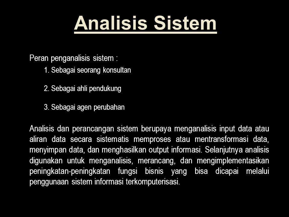Analisis Sistem Peran penganalisis sistem : 1.Sebagai seorang konsultan 2.